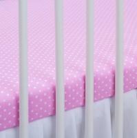Bavlněné prostěradlo - sv. růžové/bílé tečky