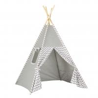 Stan pro děti teepee, týpí - šedý / zigzag šedý