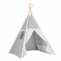Stan pro děti teepee, týpí - šedý /bílý - hvězdičky tyrkysové,šedé