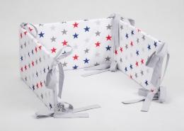 Mantinel na postýlku - bílý barevné hvězdičky, stuhy šedé
