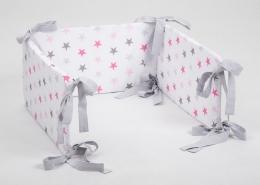 Mantinel na postýlku - bílý růžové hvězdičky, stuhy šedé