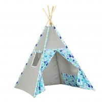 Stan pro děti teepee, týpí - šedý / sloni modří