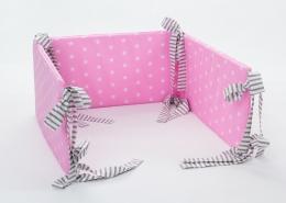 Mantinel na postýlku - růžový bílé hvězdičky, stuhy šedé proužky