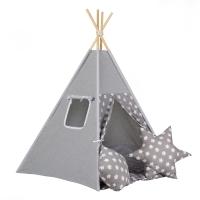 Stan pro děti teepee, týpí - šedý /šedý - hvězdy bílé