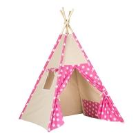 Stan pro děti teepee, týpí - béžový /tm. růžový - hvězdy bílé