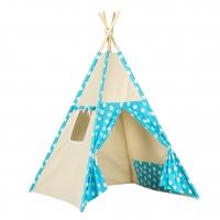Stan pro děti teepee, týpí - béžový /tyrkysový - hvězdy bílé