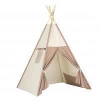 Stan pro děti teepee, týpí - béžový /hnědý - tečky bílé