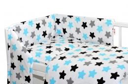 Mantinel s povlečením Baby Nellys ® - Barevné hvězdičky - modré