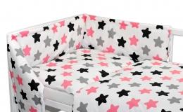 Mantinel s povlečením Baby Nellys ® - Barevné hvězdičky - růžové