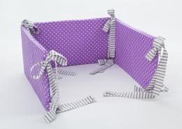Mantinel na postýlku - fialový bílé tečky, stuhy šedé proužky