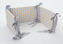 Mantinel na postýlku - bílý motýlci, stuhy šedé