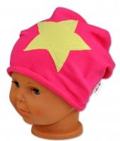 Bavlněná čepička STARS Baby Nellys ® - malinová