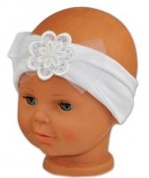 Čelenka Baby Nellys ® s květinkou a flitry - bílá
