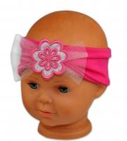Čelenka Baby Nellys ® s květinkou a flitry - malinově růžová