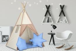 Stan pro děti teepee, týpí s výbavou - béžový / béžová s puntíky