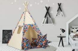 Stan pro děti teepee, týpí s výbavou - béžový / barevné květiny