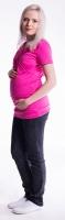 Těhotenské a kojící triko s kapucí, kr. rukáv - amarant