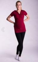 Těhotenské a kojící triko s kapucí, kr. rukáv - bordó