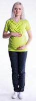 Těhotenské a kojící triko s kapucí, kr. rukáv - limetka