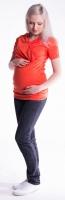 Těhotenské a kojící triko s kapucí, kr. rukáv - pomeranč