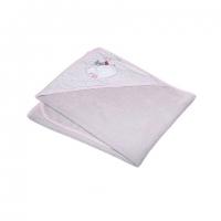 Osuška s kapucí Ty i My 100 x 100cm - FUNNY MICE - šedo/růžová