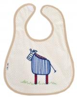 Bryndáček AKUKU s výšivkou - Zebra - béžová/béžový lem