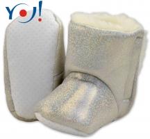 Zimní botičky/capáčky s kožíškem YO! - lesklé - bílé,stříbrné