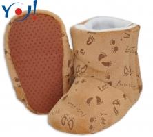 Zimní botičky/capáčky fleece YO! - hnědé s obrázky