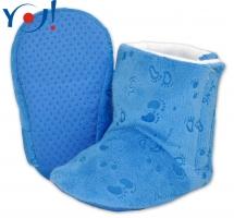 Zimní botičky/capáčky fleece YO! - modré s obrázky