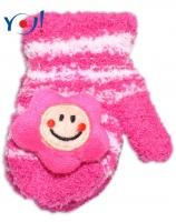 Zimní kojenecké  froté rukavičky se šňůrkou YO - malinové/sv. růžové - hvězdička