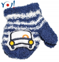 Zimní kojenecké  froté rukavičky se šňůrkou YO - granátové/bílé - autíčko