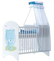 Dětská postýlka LUX Medvídek STYDLÍN modrý 120x60cm