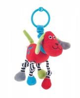 Závěsná plyšová hračka s chrastítkem - pejsek červený