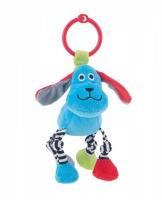 Závěsná plyšová hračka s chrastítkem - pejsek modrý