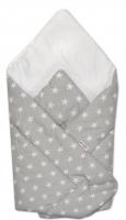 Novorozenecká zavinovačka Baby Nellys ®- bílé hvězdičky na šedém podkladu