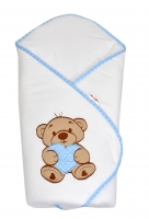 Zavinovačka s výšivkou Baby Nellys ®- Medvídek se srdíčkem - modrý lem