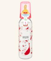Skleněná lahvička NUK  latexový dudlík, 0-6m -červená