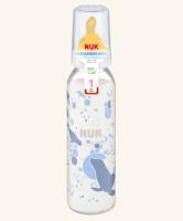 Skleněná lahvička NUK  latexový dudlík, 0-6m -bílá