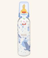 Skleněná lahvička NUK  latexový dudlík, 0-6m -modrá