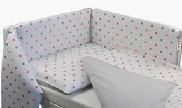 Oboustranný mantinel s povlečením Baby Nellys ® - růžovo-šedé hvězdičky/proužky