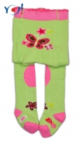 YO ! Bavlněné punčocháčky ABS na chodidle, nártu  i kolínku-zelené s motýlkem