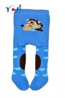 YO ! Bavlněné punčocháčky ABS na chodidle, nártu  i kolínku-modré s méďou