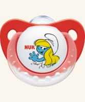 6-18m Dudlík NUK TRENDLINE - Šmoulinka - červený