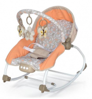BABY MIX Lehátko pro kojence  s vibrací a hudbou - Motýlci - oranžové