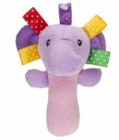 Plyšová hračka AKUKU - chrastítko - Slon - fialový