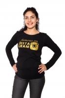 Těhotenské triko dlouhý rukáv Famous on Instagram - černé