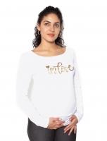 Těhotenské triko dlouhý rukáv In Love - bílé
