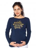 Těhotenské triko dlouhý rukáv Made with Love - tm. modrá