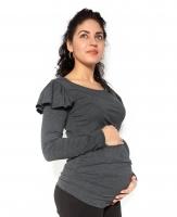 Těhotenské triko dlouhý rukáv FANNY s volánkem - tm. šedé