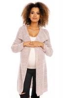 Dlouhý perličkový kabátkový svetřík PENY melírkový - béžový